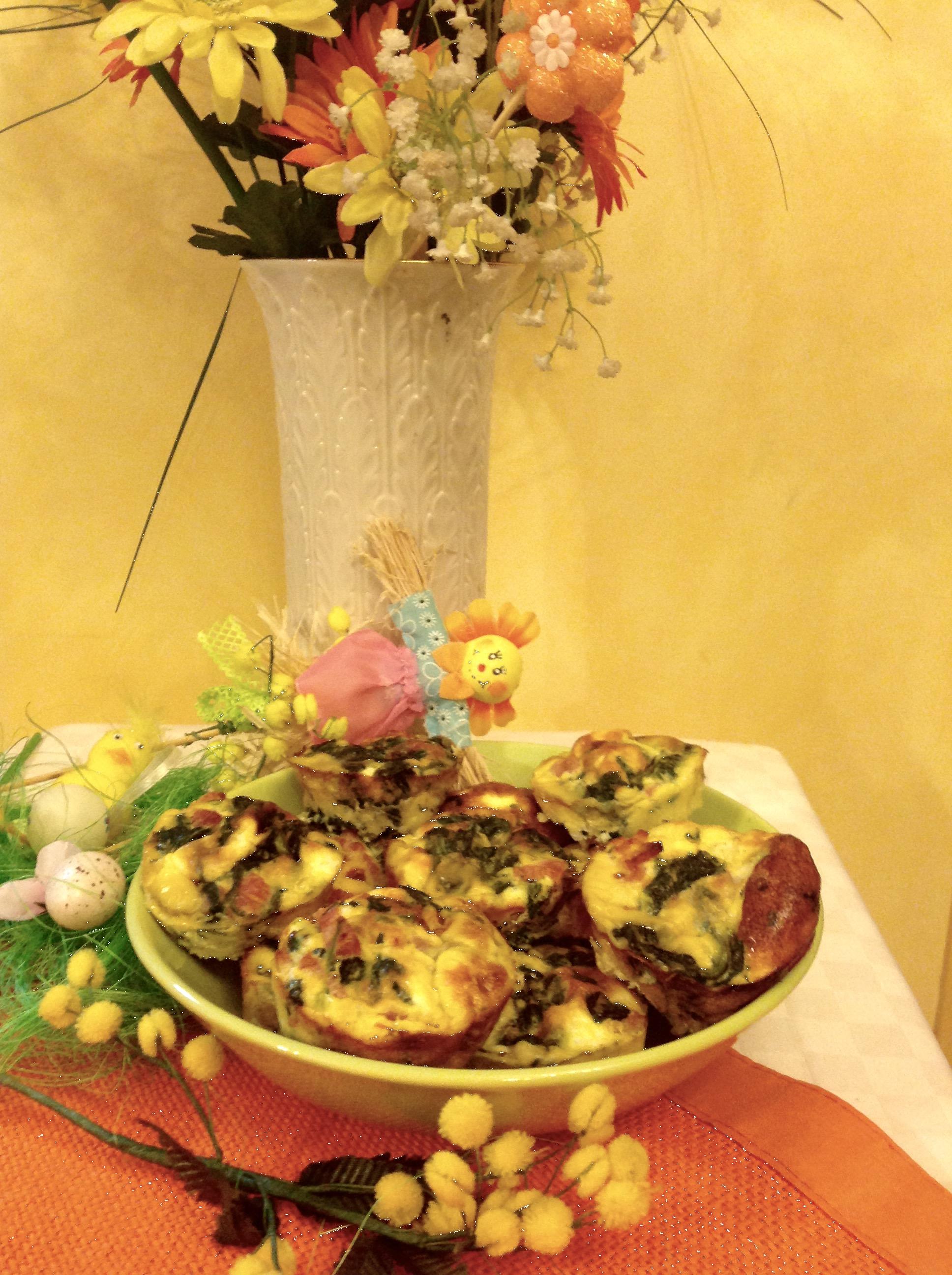 Frittatine monoporzione spinaci ricotta prosciutto