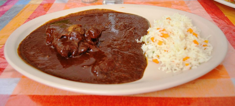 Chicken Mole with rice (photo by AlejandroLinaresGarcia)